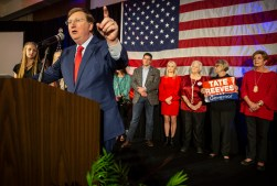 Tate Reeves speaks at the Westin after winning the governor election Tuesday, November 5, 2019.