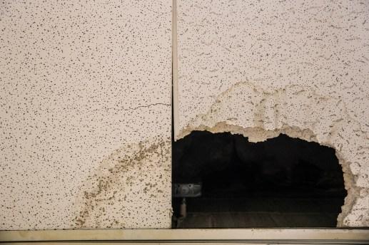 Damaged ceiling tiles at S.V. Marshall Elementary School in Lexington, Miss., Thursday, October 31, 2019.