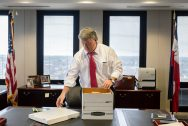Mississippi Attorney General Jim Hood closes a box of files at his office inside of the Walter Sillers Building in Jackson, Miss., Thursday, December 12, 2019.