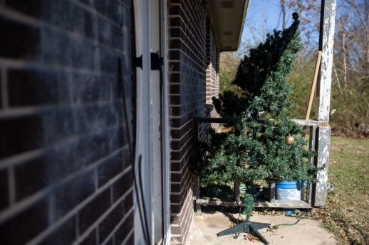 A damaged Christmas tree sits outside of Zelma Davenport's home Thursday, December 19, 2019 after Monday's tornado in Edwards, Miss.
