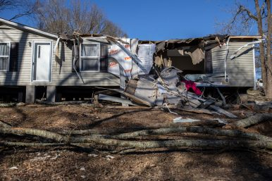 """Atallya Price, a mother of four, only had her new trailer for two weeks before it was destroyed by Monday's tornado. """"If this would have happened at night, we wouldn't have made it,"""" Price said."""