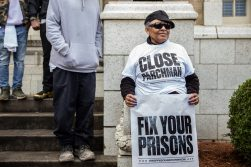 Jacquelyn Owens attends a prison reform rally in honor of her nephew, Paul Evans Jr., at the Mississippi Capitol