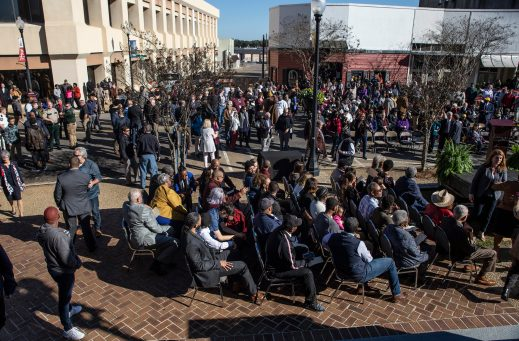 A crowd gathers during the Vernon F. Dahmer. Sr. statue dedication and unveiling ceremony at the Forrest County Courthouse Monday, January 6, 2020.
