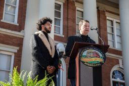 Sculptors Vixon Sullivan, left, and Ben Watts speak during the Vernon F. Dahmer. Sr. statue dedication and unveiling ceremony at the Forrest County Courthouse Monday, January 6, 2020.
