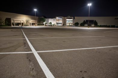 The parking lot at Northpark, photographed at 7:56 p.m., in Ridgeland, Miss., Friday, March 27, 2020.