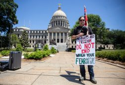 A protester during a reopening of the state and open carry rally in Jackson, Miss., Friday, May 1, 2020.
