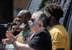 Members of Black Lives Matter speak to a large group of protesters during the Black Lives Matter protest in downtown Jackson, Miss., Saturday, June 6, 2020.