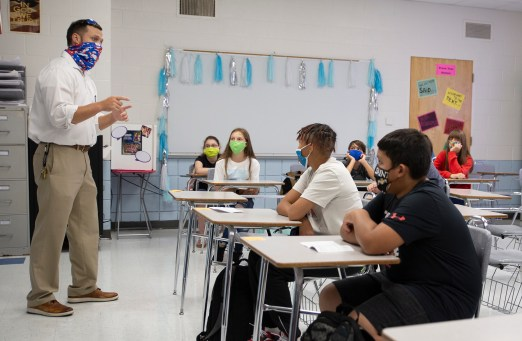 Cody Killen, Neshoba Central Middle School Principal, talks to an English class on the day of school on Wednesday, August 5, 2020 in Philadelphia, Miss.