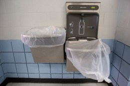 Water fountains are covered, and a electronic water dispenser is in place for safety measures due to coronavirus.