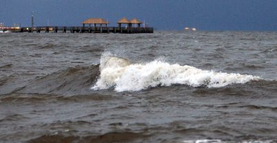 Waves continue to increase in size and intensity at Gulfport. Hurricane Sally made a turn toward Mobile, Ala., during the night.