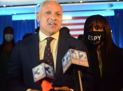 Democratic Senate challenger Mike Espy concedes to incumbent Republican Senator Cindy Hyde-Smith Tuesday night at the Mississippi Civil Rights Museum in Jackson.