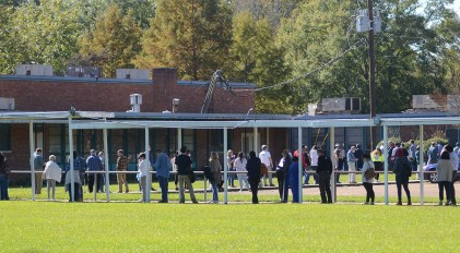 Long lines at McLeod Elementary School in northeast Jackson after those who normally voted at St. Philip's Episcopal Chruch were notified to vote at the elementary school.