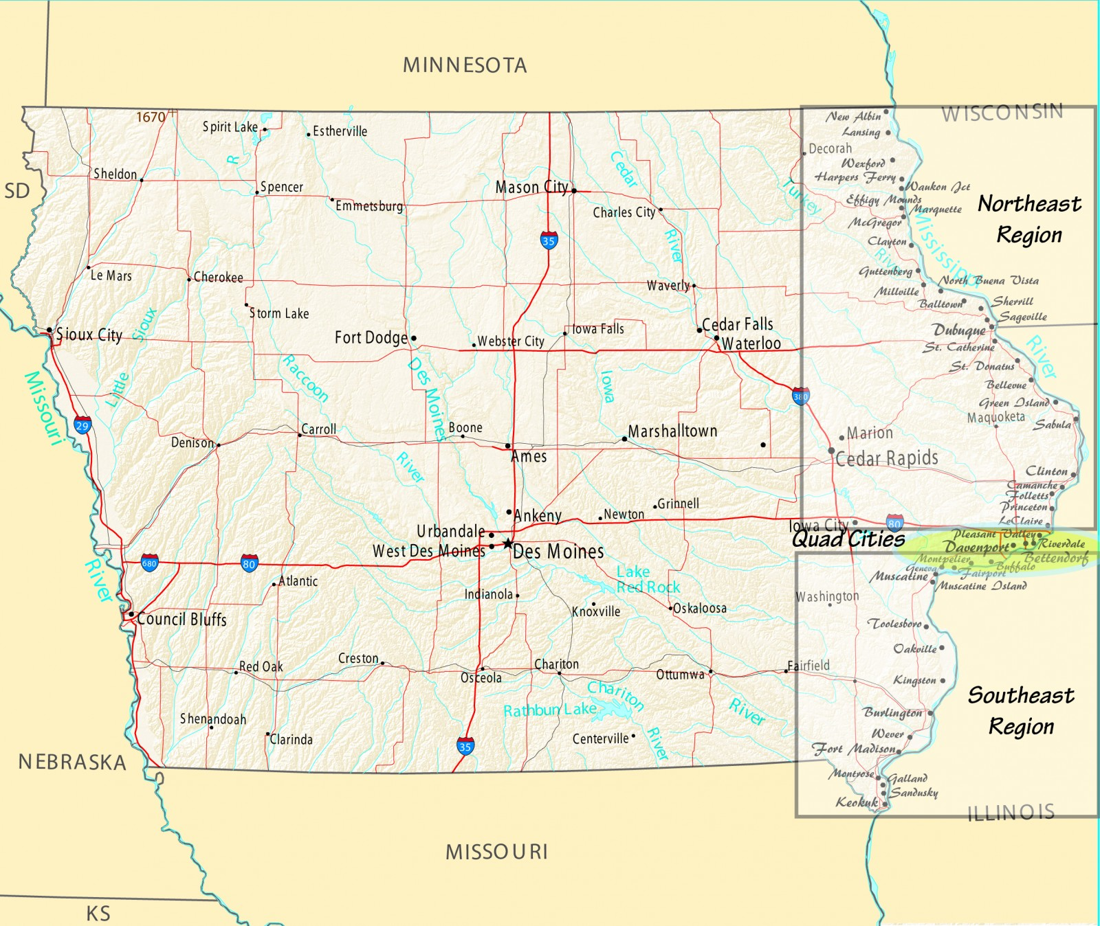 Iowa River Towns Mississippi Valley Traveler - Cities in iowa map