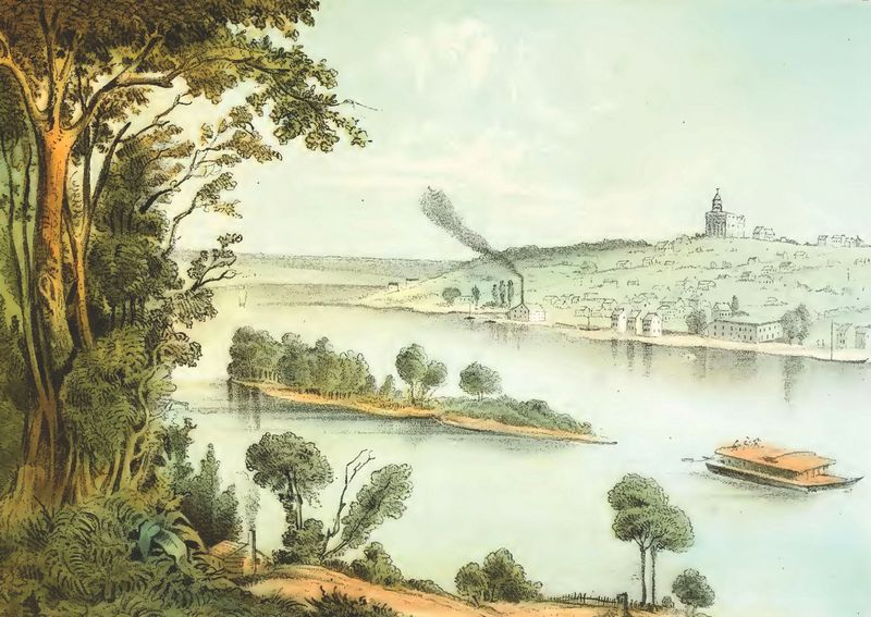 Lewis' view of Nauvoo, IL from Das Illustrirte Mississippithal