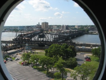 A view of the bridge with the swing span open
