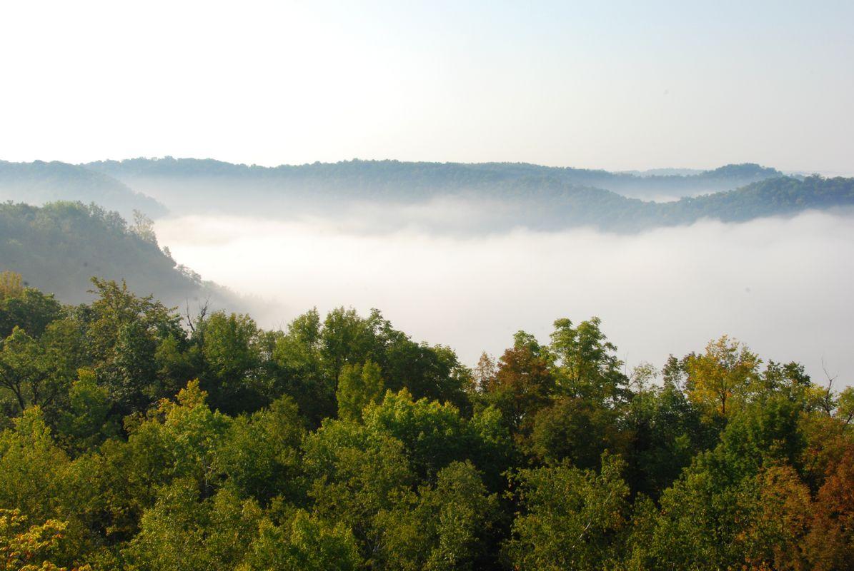 Fog around Granddad Bluff; La Crosse WI
