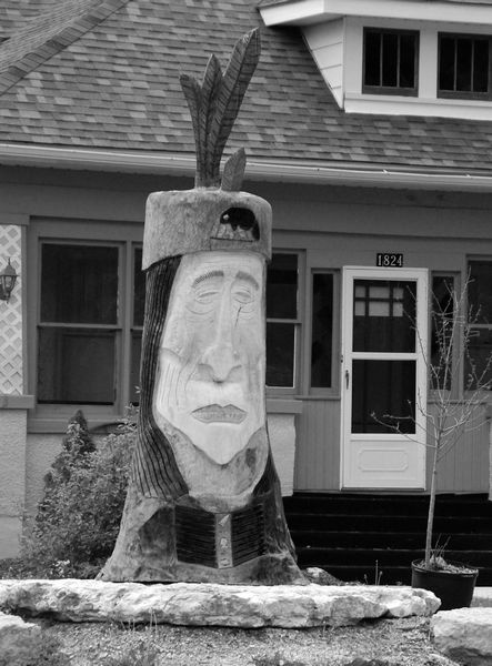 Profile of Native American carved in tree trunk; Fulton, IL