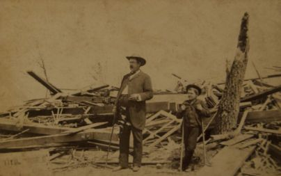 Aftermath of the 1886 tornado in Sauk Rapids (Courtesy of Benton County Historical Society)