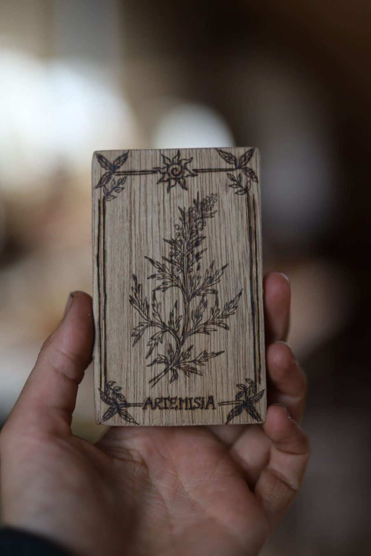 Armoise, artemisia, plante, sorcière, Carte botanique, tarot, magie, sorcière, bois, artisanat français, écologique, missive to bears, atelier de la lettre aux ours, pagan, wicca