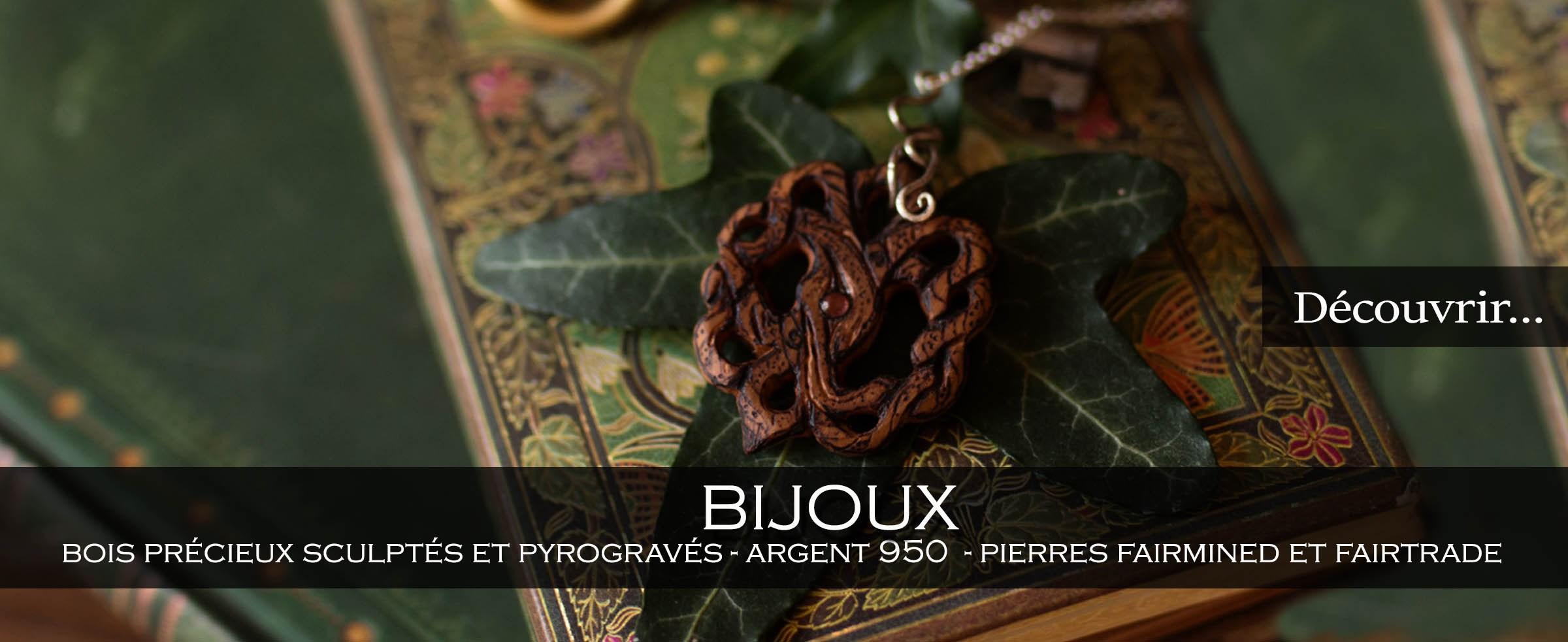 Bijoux de l'atelier de la lettre aux ours, bijoux en bois précieux et argent 950, pierres fairtrade, ethique, écologique, écoresponsable, artisanat français, fabriqué en normandie