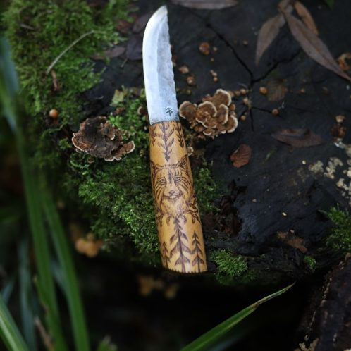 Couteau lynx français, artisanat, forgeron, coutelier d'art, la forge d'Asgeir, écologique, lettre aux ours, missive to bears, artisanat francais, normandie