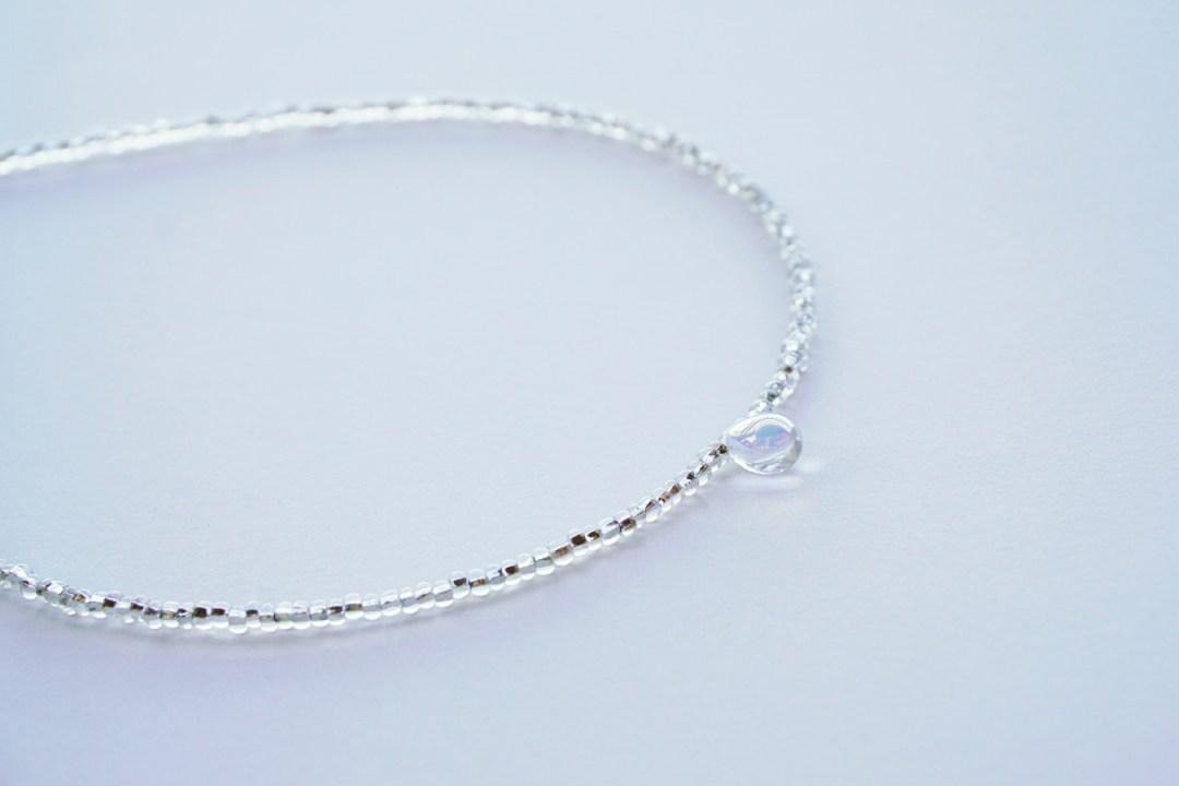 Vintage Delicate Clear Teardrop Crystal Choker Necklace
