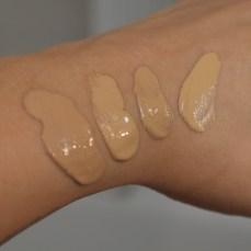 Von links nach rechts: Catrice Photo Finish Foundation in 50, 40, Bourjois Healthy Skin Mix in 56 und ganz rechts Missha Perfect Cover in 27.