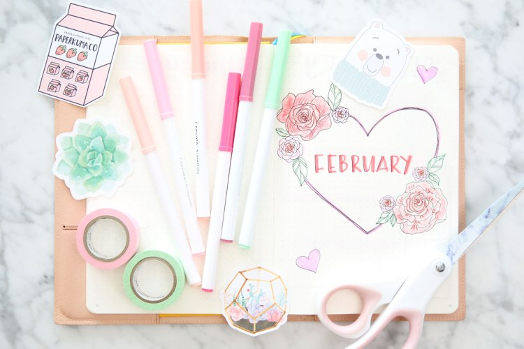 February-bullet-journal-bujo-cover-page-spread-ideas-miss-louie