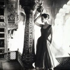 Anne Gunning in dress by Susan Small, (India feature) Vogue UK, Dec. 1956
