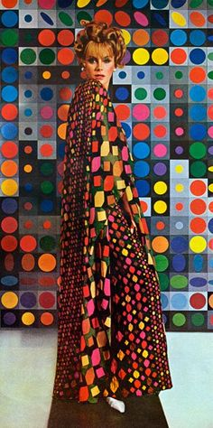 James Galanos design ; Vasarely painting