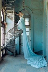 Lily Cole and spiral staircase, Whadwan, Gujarat, India, 2005, British Vogue