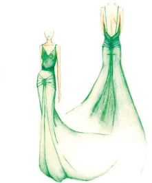 The sketch of the emerald green silk gown