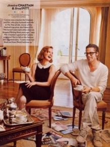 Jessica Chastain and Brad Pitt