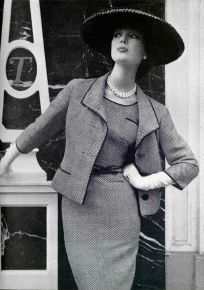 ivy-nicholson-in-black-and-white-rayon-dress-belted-with-matching-3-button-jacket-by-jean-patou-photo-by-silverstein-at-vogue-studio-paris-1957