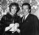 American singer Andy Williams with British singer and actress Julie Andrews. They are in Hollywood for the Golden Globe Awards, where Julie has been nominated for an award and Andy will be master of ceremonies. (Photo by Keystone/Getty Images)