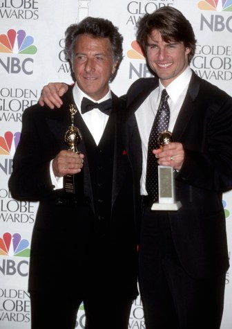 Actor Dustin Hoffman and actor Tom Cruise attend the 54th Annual Golden Globe Awards on January 19, 1997 at Beverly Hilton Hotel in Beverly Hills, California. (Photo by Ron Galella, Ltd./WireImage)