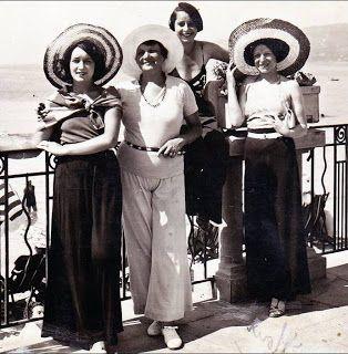 1930 French Riveria Pajama Pants and Straw Hats