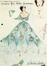 """Sketch of a gown worn by Ava Gardner in """"Barefoot Contessa"""""""