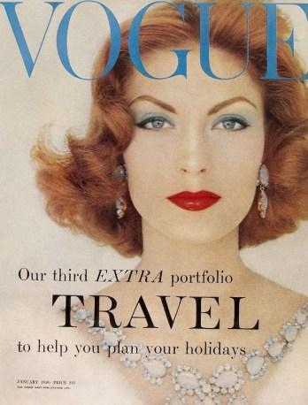 Suzy Parker ; January 1958 Vogue