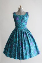 Turquoise and purple floral dress by Jonathan Logan, 1950S