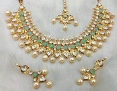 Mystic green kundan jewelry
