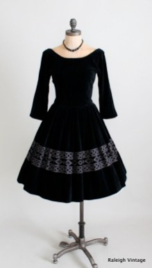 60s black velvet dress by Jonathan Logan
