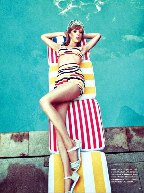 Edie Campbell stripes