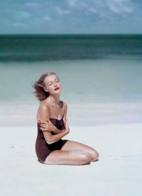 Liz Pringle swimsuit by Givenchy Vogue, 1953