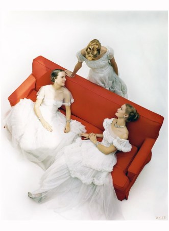 Models in White Ball Gowns Vogue, December 1945 John Rawlings