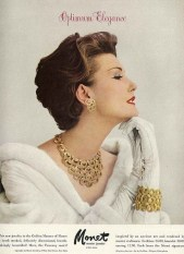 Mary Jane Russell in an advertisement for Monet jewellery, September 1957
