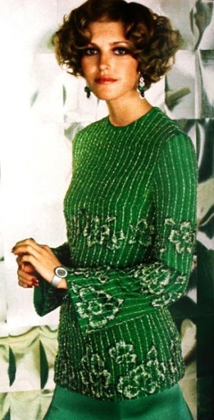 Precious evening gown in bright green by Uli Richter, 1974