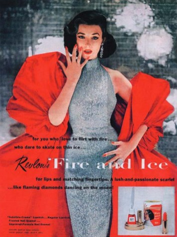 Dorian Leigh in Revlon's famous Fire and Ice ad, 1952.