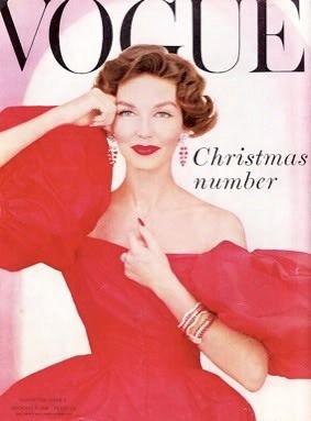 Model wearing Mainbocher for Vogue UK December 1956