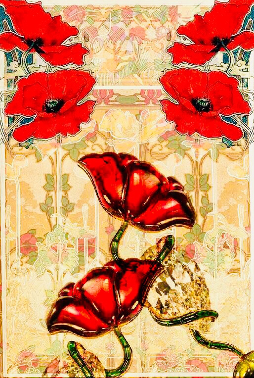 55x54 relief-Art Nouveau-monogram CV 6 dreamlike Art Nouveau-linen-napkins with poppy blossoms France circa 1900 leaves